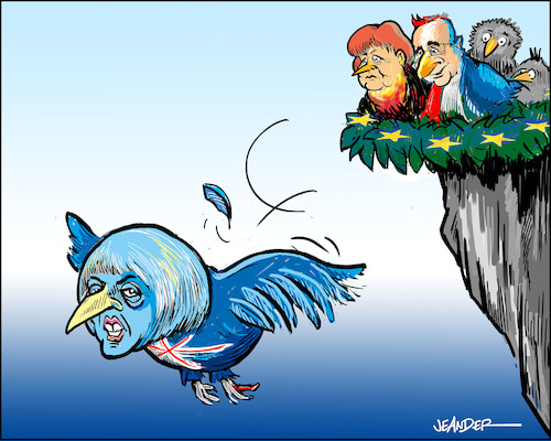 Cartoon: Fledged (medium) by jeander tagged theresa,may,merkel,hollande,brexit,theresa,may,merkel,hollande,brexit