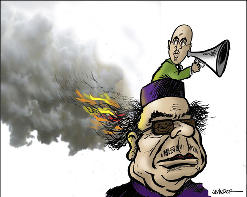 Cartoon: Gaddafi and son (medium) by jeander tagged terror,revolution,democracy,libya,khaddaffi,gaddafi,gadaffi,gaddafi,libyen,demokratie,revolution