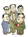 Cartoon: Chinese leaders (small) by jeander tagged deng,xiaoping,hua,guofeng,mao,zedong,zhou,enlai,jiang,zemin,hu,jintao,china,chairman,president
