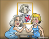 Cartoon: The challengers (small) by jeander tagged thatcher,britain,election,tory,conservative,chairman,pm,theresa,may,andera,leadson