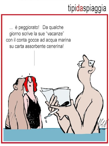 Cartoon: Tipi da spiaggia (medium) by Enzo Maneglia Man tagged vignetta,umorismo,grafico,spilli,maneglia,man,bagnanti,estate,cassonettari,fighillearte