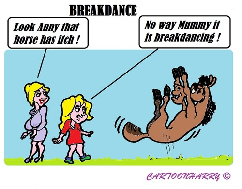 Cartoon: Breakdance (medium) by cartoonharry tagged mummy,daughter,horse,itch,breakdance