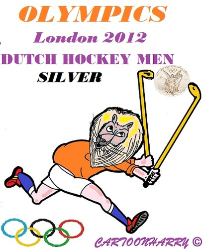 Cartoon: Dutch Hockey Men (medium) by cartoonharry tagged dutch,hockey,men,silver,lion,cartoon,cartoonist,cartoonharry,toonpool