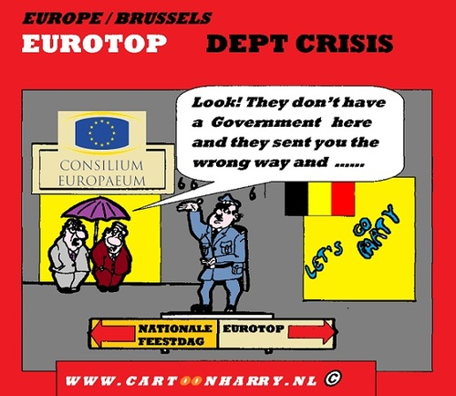 Cartoon: Eurotop Brussels (medium) by cartoonharry tagged dutch,cartoonharry,cartoonist,cartoon,wrong,way,direction,police,rain,sarkozy,merkel,belgium,brussels,france,germany,eurotop,toonpool