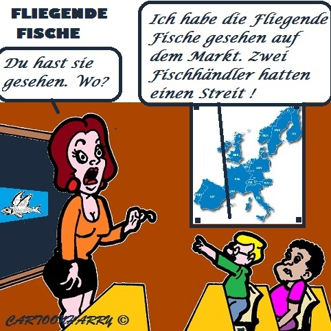 Cartoon: Fliegende Fische (medium) by cartoonharry tagged fische,fliegendefische,schule,markt