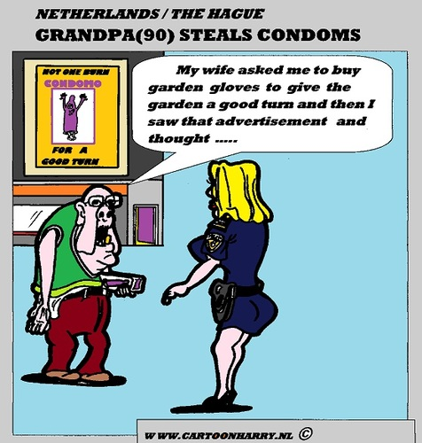 Cartoon: GrandPa s Garden (medium) by cartoonharry tagged condom,grandpa,stealing,police,shop,cartoon,cartoonist,cartoonharry,dutch,toonpool