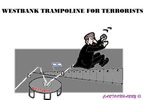 Cartoon: Jump (medium) by cartoonharry tagged westbank,trampoline,israel,terrorists,jump