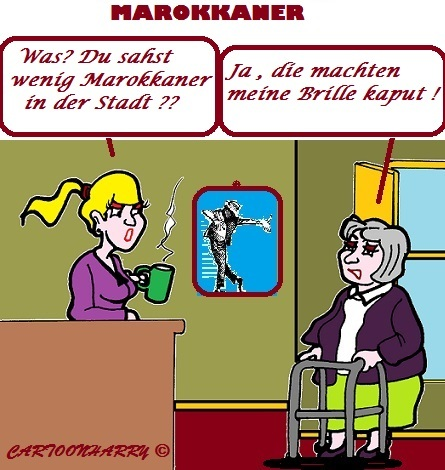 Cartoon: Marokkaner (medium) by cartoonharry tagged maokkaner,weniger,brille,kaput