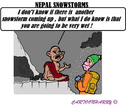 Cartoon: Nepal Snowstorms (medium) by cartoonharry tagged nepal,snowstorms,disaster,nature