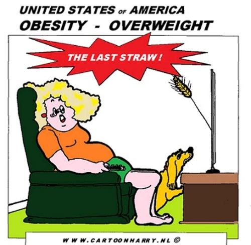 Cartoon: Obesity (medium) by cartoonharry tagged obesity,straw,tv,cartoon,cartoonist,cartoonharry,usa,dutch,toonpool