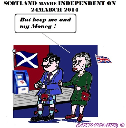 Cartoon: Scotlands Independency (medium) by cartoonharry tagged scotland,england,queen,pound,independency