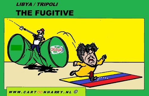 Cartoon: The Fugitive (medium) by cartoonharry tagged libya,gadaffi,oil,flag,venezuela,cartoon,fugitive,cartoonist,cartoonharry,toonpool