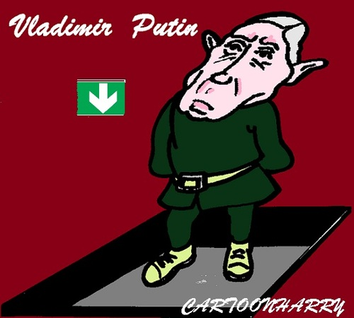 Cartoon: Vladimir Putin (medium) by cartoonharry tagged putin,down,russia,caricature,cartoon,cartoonist,cartoonharry,dutch,toonpool