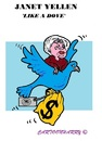 Cartoon: Janet Yellen (small) by cartoonharry tagged usa,fed,yellen,dove,boss