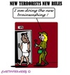 Cartoon: New Prison Rules (small) by cartoonharry tagged terrorists,jihadists,prison,brainwash,international,cartoonharry,cartoons,rules