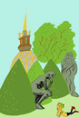 Cartoon: summertime in Paris (small) by Dekeyser tagged rodin,paris,lola,balzac,aurelie,dekeyser,comics,illustration