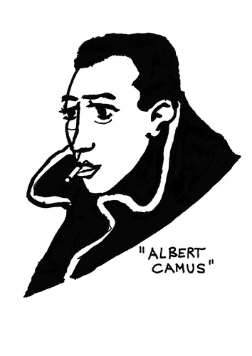 Cartoon: Albert Camus (medium) by Pascal Kirchmair tagged peste,la,journaliste,literature,literatur,nobelpreis,nobel,prix,pest,die,writer,camus,albert