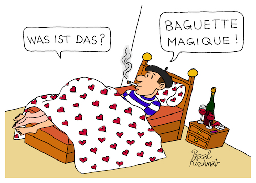 Cartoon: Baguette Magique (medium) by Pascal Kirchmair tagged baguette,magique,french,touch,cartoon,dessin,humour,humor,caricature,karikatur,illustration,zeichnung,beret,baskenmütze,ilustracion,pascal,kirchmair,dibujo,desenho,drawing,disegno,ilustracao,illustrazione,illustratie,de,presse,du,jour,art,of,the,day,tekening,teckning,cartum,vineta,comica,vignetta,caricatura,bleu,blanc,rouge,tricolore,france,francais,baguette,magique,french,touch,cartoon,dessin,humour,humor,caricature,karikatur,illustration,zeichnung,beret,baskenmütze,ilustracion,pascal,kirchmair,dibujo,desenho,drawing,disegno,ilustracao,illustrazione,illustratie,de,presse,du,jour,art,of,the,day,tekening,teckning,cartum,vineta,comica,vignetta,caricatura,bleu,blanc,rouge,tricolore,france,francais
