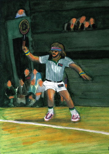 Cartoon: Björn Borg (medium) by Pascal Kirchmair tagged tournament,turnier,all,england,championships,björn,borg,tennis,wimbledon,grand,slam,retro,vintage,lawn,london,heiliger,rasen