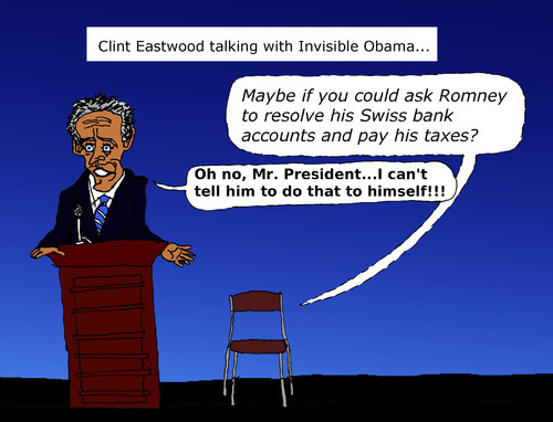 Cartoon: Clint Eastwood talks with chair (medium) by Pascal Kirchmair tagged paul,gop,national,florida,tampa,ryan,romney,mitt,rnc,barack,president,mr,stuhl,chair,invisible,obama,to,talks,eastwood,clint,convention,republican