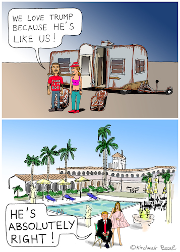Cartoon: Donald Trump loves the poor (medium) by Pascal Kirchmair tagged donald,trump,caricature,cartoon,karikatur,mar,lago,florida,rich,poor,wealth,gap,economic,inequality,vignetta,vineta,comica,illustration,humour,humor,president,usa,donald,trump,caricature,cartoon,karikatur,mar,lago,florida,rich,poor,wealth,gap,economic,inequality,vignetta,vineta,comica,illustration,humour,humor,president,usa