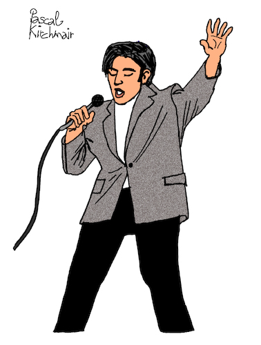 Cartoon: Elvis Presley (medium) by Pascal Kirchmair tagged rockabilly,fusion,country,musik,rhythm,and,blues,elvis,aaron,presley,memphis,tennessee,januar,january,janvier,1935,in,tupelo,mississippi,singer,the,king,of,rock,roll,pop,cartoon,caricature,karikatur,ilustracion,illustration,pascal,kirchmair,dibujo,desenho,drawing,zeichnung,disegno,ilustracao,illustrazione,illustratie,dessin,de,presse,du,jour,art,day,tekening,teckning,cartum,vineta,comica,vignetta,caricatura,humor,humour,portrait,retrato,ritratto,portret,porträt,artiste,artista,artist,usa,cantautore,music,musique,jail,house,love,me,tender,nothing,but,hound,dog,no,friend,mine,rockabilly,fusion,country,musik,rhythm,and,blues,elvis,aaron,presley,memphis,tennessee,januar,january,janvier,1935,in,tupelo,mississippi,singer,the,king,of,rock,roll,pop,cartoon,caricature,karikatur,ilustracion,illustration,pascal,kirchmair,dibujo,desenho,drawing,zeichnung,disegno,ilustracao,illustrazione,illustratie,dessin,de,presse,du,jour,art,day,tekening,teckning,cartum,vineta,comica,vignetta,caricatura,humor,humour,portrait,retrato,ritratto,portret,porträt,artiste,artista,artist,usa,cantautore,music,musique,jail,house,love,me,tender,nothing,but,hound,dog,no,friend,mine