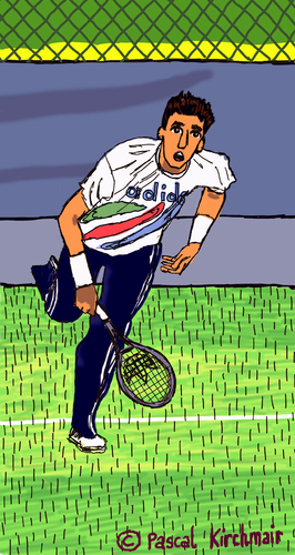 Cartoon: Ivan Lendl (medium) by Pascal Kirchmair tagged ivan,lendl,tennis,cartoon,caricature,karikatur,tenis,player,spieler