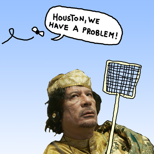 Cartoon: Lord of the Flies (medium) by Pascal Kirchmair tagged guerra,guerre,war,krieg,libya,libye,libyen,tripolis,tripoli,al,muammar,gaddafi,gadhafi,ein,haben,wir,problem,have,we,houston,mouches,des,majeste,sa,lord,fliegen,der,herr