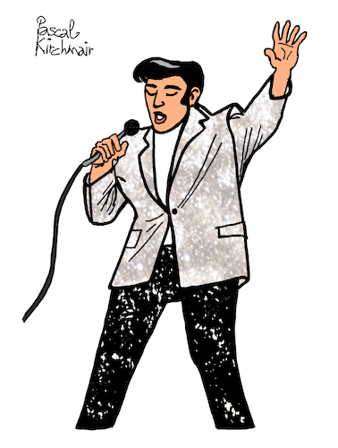 Cartoon: THE KING (medium) by Pascal Kirchmair tagged rockabilly,fusion,country,musik,rhythm,and,blues,elvis,aaron,presley,memphis,tennessee,januar,january,janvier,1935,in,tupelo,mississippi,singer,the,king,of,rock,roll,pop,cartoon,caricature,karikatur,ilustracion,illustration,pascal,kirchmair,dibujo,desenho,drawing,zeichnung,disegno,ilustracao,illustrazione,illustratie,dessin,de,presse,du,jour,art,day,tekening,teckning,cartum,vineta,comica,vignetta,caricatura,humor,humour,portrait,retrato,ritratto,portret,porträt,artiste,artista,artist,usa,cantautore,music,musique,jail,house,love,me,tender,nothing,but,hound,dog,no,friend,mine,rockabilly,fusion,country,musik,rhythm,and,blues,elvis,aaron,presley,memphis,tennessee,januar,january,janvier,1935,in,tupelo,mississippi,singer,the,king,of,rock,roll,pop,cartoon,caricature,karikatur,ilustracion,illustration,pascal,kirchmair,dibujo,desenho,drawing,zeichnung,disegno,ilustracao,illustrazione,illustratie,dessin,de,presse,du,jour,art,day,tekening,teckning,cartum,vineta,comica,vignetta,caricatura,humor,humour,portrait,retrato,ritratto,portret,porträt,artiste,artista,artist,usa,cantautore,music,musique,jail,house,love,me,tender,nothing,but,hound,dog,no,friend,mine