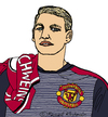 Cartoon: Bastian Schweinsteiger (small) by Pascal Kirchmair tagged football,fußball,foot,bastian,schweinsteiger,caricature,karikatur,cartoon,manchester,united,illustration,dessin,zeichnung,dibujo,desenho,disegno,drawing,portrait,retrato,ritratto