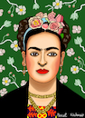 Cartoon: Frida Kahlo (small) by Pascal Kirchmair tagged frida kahlo mexiko künstlerin woman painter peintre pittrice pintora malerin mexico portrait retrato ritratto cartoon caricature karikatur vignetta artist artista
