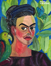 Cartoon: Frida Kahlo (small) by Pascal Kirchmair tagged self,portrait,with,con,bonito,autorretrato,after,frida,kahlo,pascal,kirchmair,painting,pintura,aquarell,watercolour,ilustracion,illustration,ilustracao,peinture,watercolor,pittura,dipinto,cuadro,quadro,lienzo