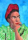 Cartoon: Frida Kahlo (small) by Pascal Kirchmair tagged frida kahlo cartoon zeichnung desenho caricature illustration ilustracion pascal kirchmair portrait retrato ritratto drawing dibujo disegno ilustracao illustrazione illustratie dessin du jour art of the day tekening teckning cartum vineta comica vignetta caricatura karikatur ink immagine image bild imagen imagem arte dipinto watercolour watercolor aquarelle portret
