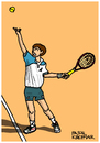Cartoon: Goran Ivanisevic (small) by Pascal Kirchmair tagged goran,ivanisevic,tennis,player,cartoon,caricature,karikatur,vignetta,croatia,kroatien,split