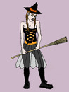 Cartoon: HALLOWEEN (small) by Pascal Kirchmair tagged hexe witch sexy halloween costume verkleidung cartoon hexenbesen hallo wien sorciere witchcraft balai broom besom brush