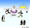 Cartoon: Ice Dancing Ice Bear (small) by Pascal Kirchmair tagged pinguins eisbär ours blanc dancing ice bear tutu nordpol north pole nord eislaufen skating pinguine eistanzen breaking bad through einbrechen südpol sud south eisloch hole