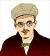 Cartoon: James Joyce (small) by Pascal Kirchmair tagged james,joyce,caricature,cartoon,karikatur,portrait,retrato,pascal,kirchmair,dibujo,drawing,desenho,zeichnung,portret,ritratto,cartum,tekening,teckning,dessin,ilustracion,ilustracao,illustrazione,illustration,illustratie,dublin,ireland,irlanda,dubliners,finnegans,wake,ulysses