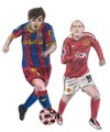 Cartoon: Lionel Messi and Wayne Rooney (small) by Pascal Kirchmair tagged manu wayne rooney lionel messi barca barcelona fc manchester united champions league ligue des soccer foot football fußball dribbelkünstler bester fußballer weltfußballer meilleur joueur de
