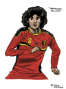 Cartoon: Marouane Fellaini (small) by Pascal Kirchmair tagged wm fifa world cup weltmeisterschaft fußballer spieler foot football futebol futbol marouane fellaini belgien belgique caricature cartoon karikatur dessin illustration poster