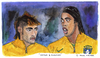 Cartoon: Neymar and Ronaldinho (small) by Pascal Kirchmair tagged neymar ronaldinho gaucho selecao karikatur caricature cartoon foot futebol futbol bresil brasil brazil brasile fußball soccer portrait watercolour aquarell