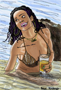 Cartoon: Rihanna (small) by Pascal Kirchmair tagged rihanna barbados bikini fun beach party cartoon caricature karikatur vignetta dessin zeichnung