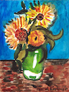 Cartoon: Three Sunflowers in a Vase (small) by Pascal Kirchmair tagged pascal kirchmair vincent van gogh sonnenblumen sunflowers vase tournesols girasoles girasoli watercolor aquarell painting dipinto cuadro quadro