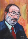 Cartoon: Umberto Eco (small) by Pascal Kirchmair tagged umberto,eco,portrait,karikatur,caricature,disegno,aquarell,italia,schriftsteller,scrittore,ecrivain,italien,mailand,milano