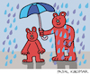 Cartoon: Under my umbrella (small) by Pascal Kirchmair tagged under my umbrella regen schirm teddy bären bears teddies caricature cartoon karikatur vignetta vineta comica ours brun bruno braunbär brown bear jj1 humor humour dessin drawing zeichnung dibujo desenho disegno