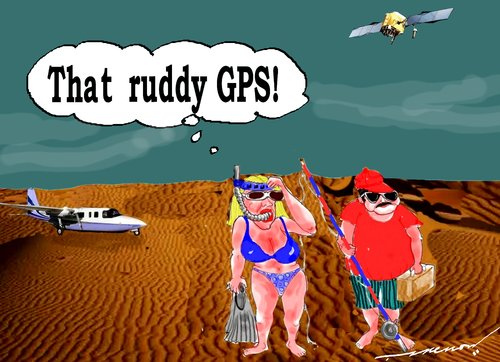 Cartoon: GPS Woes (medium) by kar2nist tagged gps,tourists,deserts,swimming,fishing