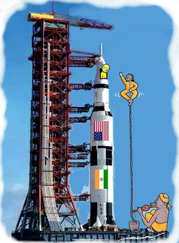 Cartoon: Indo-Us joint space odyssy! (medium) by kar2nist tagged rocket,jointventure,us,india,launch,space