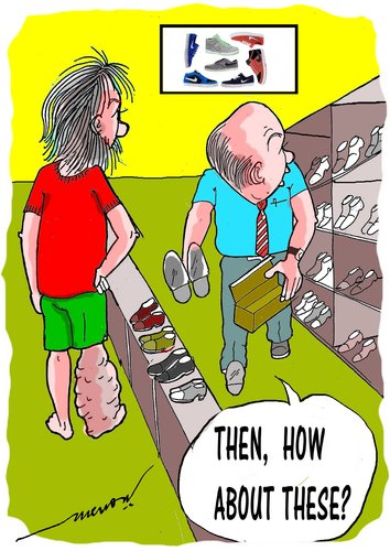 Cartoon: shopping 4 shoes (medium) by kar2nist tagged filariasis,shoe,purchase,swelling