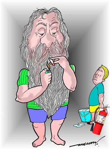 Cartoon: smoking hazards (medium) by kar2nist tagged smoking,fire,extingusher