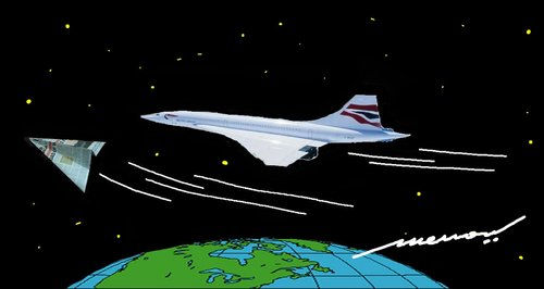 Cartoon: The fastest thing on earth (medium) by kar2nist tagged news,paper,concorde,air,travel,aircraft