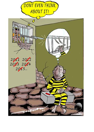 Cartoon: Thwated thoughts (medium) by kar2nist tagged convict,newyear,escape,cell